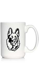 Adorable design of a happy German Shepherd face, printed in black on a white coffee cup