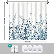 free hooks with this botanical shower curtain