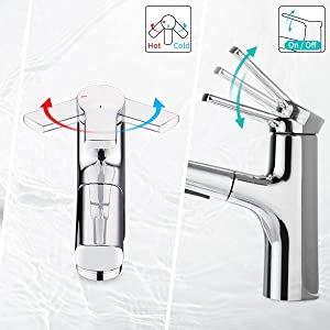 Practical single handle faucet, easy to exchange hot and cold water
