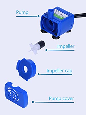 Exploded view of water pump