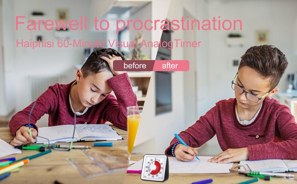 Farewell to procrastination Haiphisi 60-Minute Visual AnalogTimer