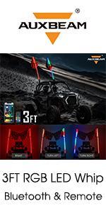 Auxbeam RGB Bluetooth LED Whip for ATV UTV SUV Truck Boat