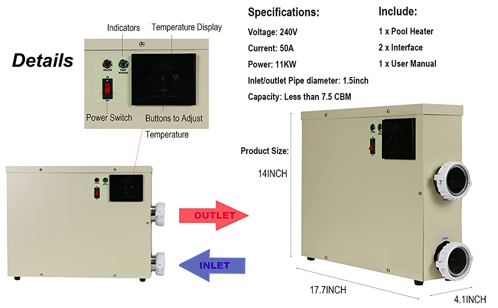 funchic Pool Thermostat Water Heater 240V 11KW