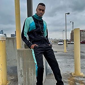 windbreaker track suit full zip color block jacket