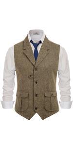 mens vintage notch lapel tweed vest retro slim fit herringbone wool suit waistcoat vests for men