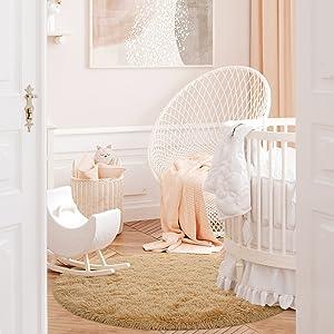 baby room rug light tan