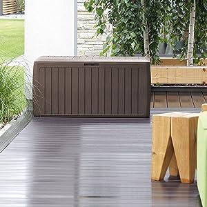 solution rangement extérieur jardin balcon terrasse balcon veranda garage coffre en bois male malle