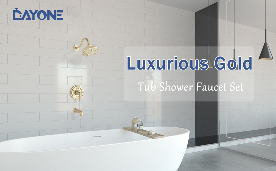 Champagne Gold Bathroom Tub Shower Faucet Complete Set Combo with Valve