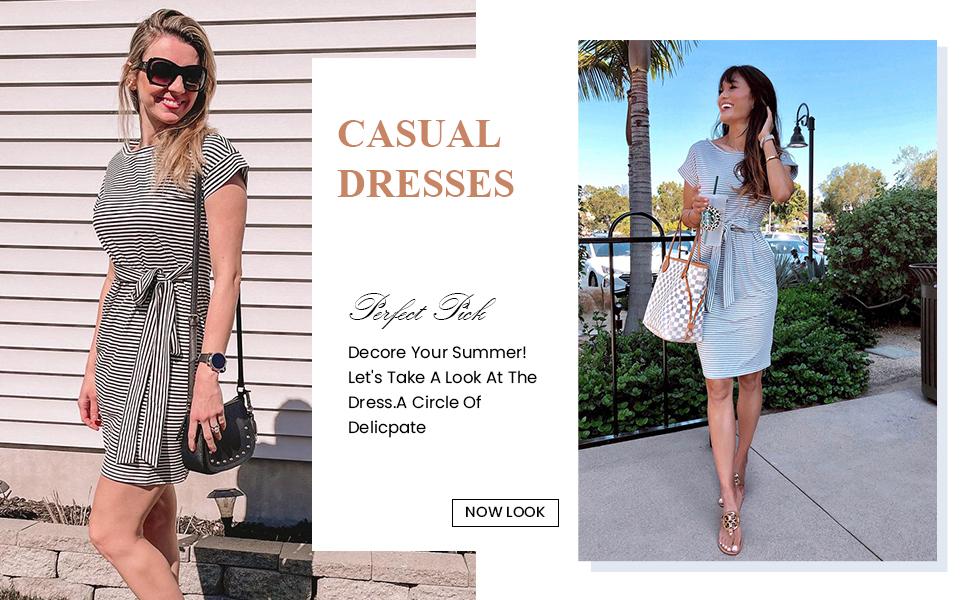 short sleeve crewneck casual dress for women