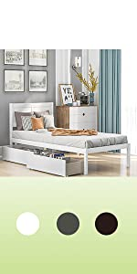wood twin bed with headboard and storage drawers white