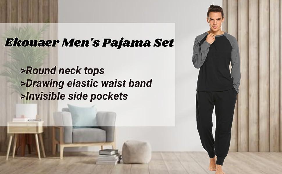 Ekouaer Men's Pajama Set