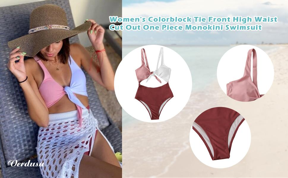 Verdusa Women's Colorblock Tie Front High Waist Cut Out One Piece Monokini Swimsuit