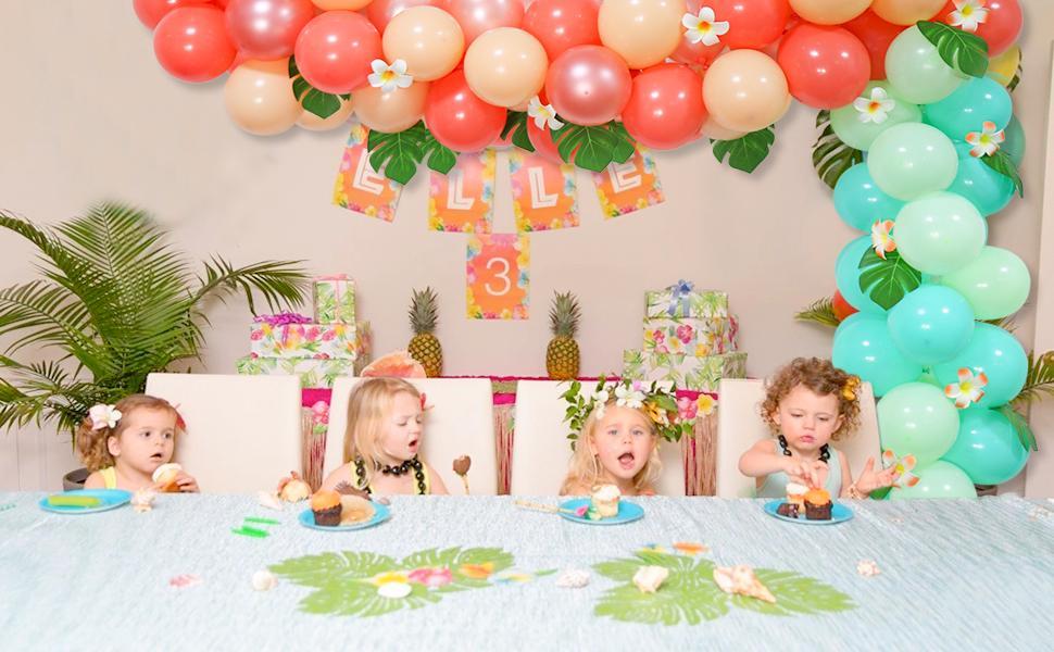 Tropical Themed Birthday Balloons Garland