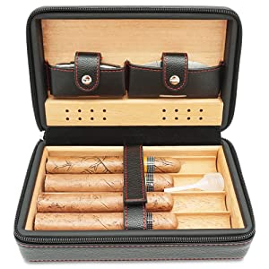 portable travel cigar case, cedar wood leather cigar humidor with lighters, cutter and humidifier