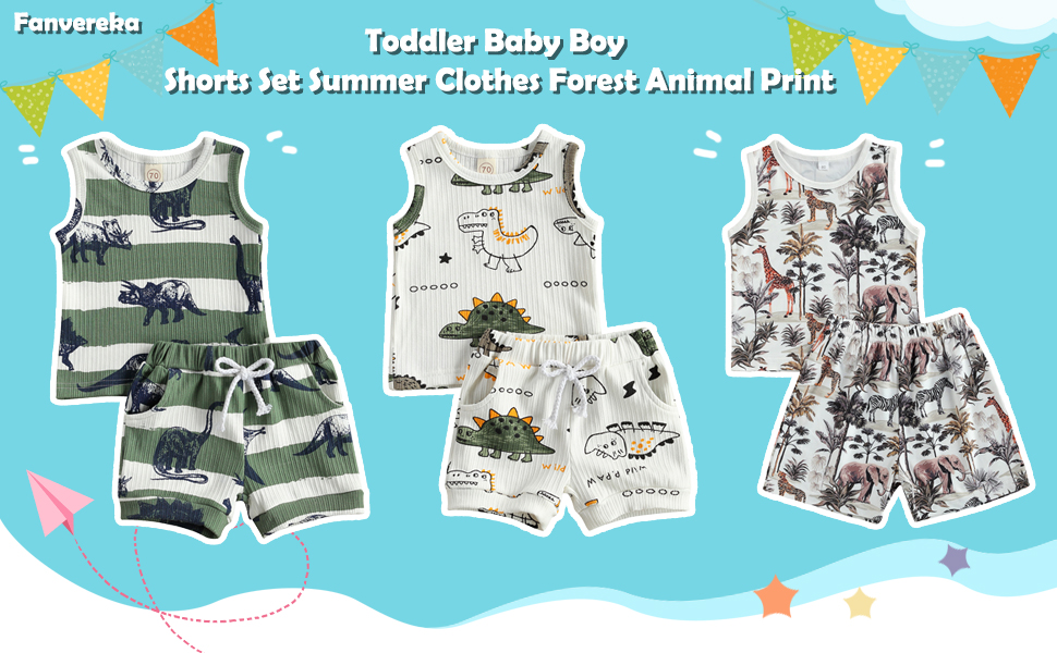 Baby Boy Shorts Set Summer Clothes Forest Animal Print