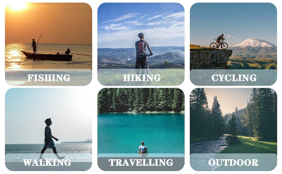 Good idea for Hiking, Climbing, Camping, Hunting, Fishing, mountaineering, Shooting, Cycling