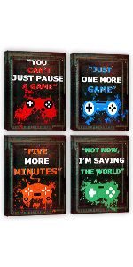 Game Room Wall Art Decor Funny Gaming Decorations Canvas Prints Boys Room Decorations