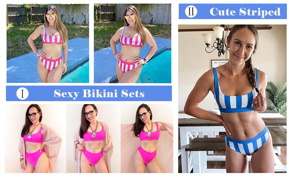 Womens Crop Top High Waisted Swimsuits Sport High Cut Bathing Suits Bikini Set Two Piece