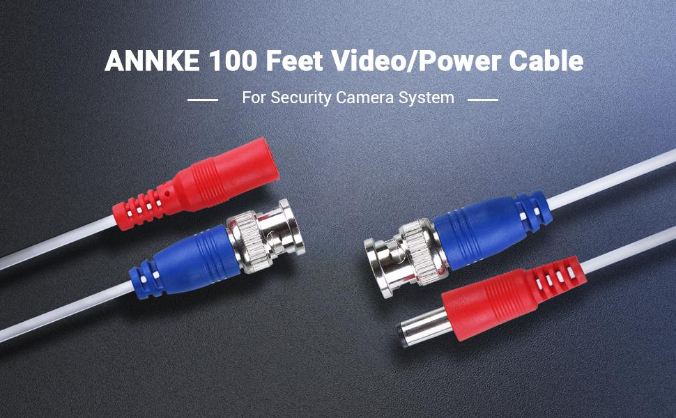 100 Feet Video/Power Cable for Security Camera System