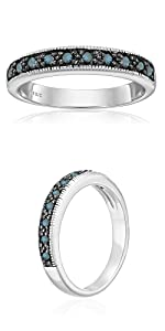 Vir Jewels 1/4 cttw Blue Diamond Ring Wedding Band with Milgrain in .925 Sterling Silver