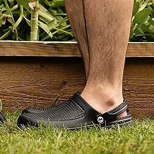 Mens garden clogs lightweight waterproof gardening shoes comfortable slip-on classic durable comfy