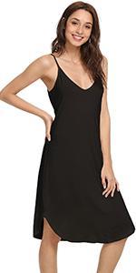women full slip bamboo viscose nightgown sleeveless sleepwear soft lounge dress