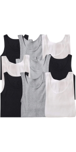 men's pack of nine assorted one hundred percent cotton tank tops