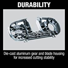 durability die cast aluminum gear and blade housing for increased cutting stability