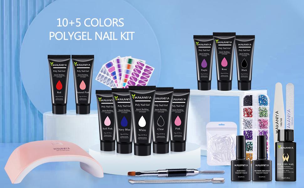 polygel nail kit uv led lamp light poly gel polish starter professional set