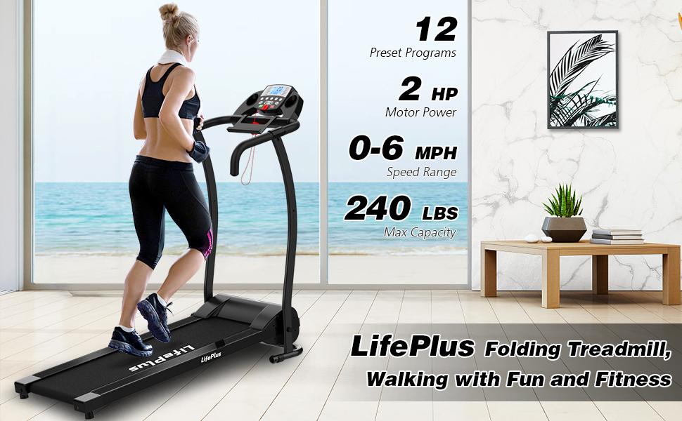 LifePlus folding treadmill walking with fun and fitness