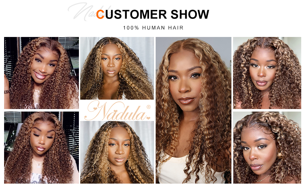 Highlight Colored Wigs 13x4 Lace Front Wigs Jerry Curly Human Wigs With Baby Hair 150% Density