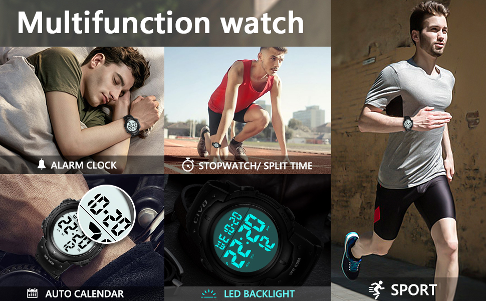 Mens Digital Watches Military Big Numbers 50M Waterproof Large Face LED Back Light Watch for Men