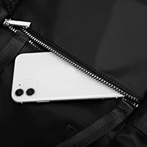 Outside zip pockets for cell phone or small essentials