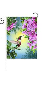 Spring Hummingbird Bird Flower Garden Yard Flag Decoration