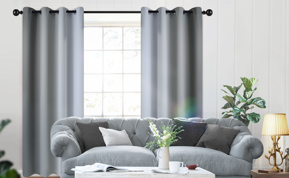 Grommet Top Polyester Greyish white and Grey Ombre Curtains