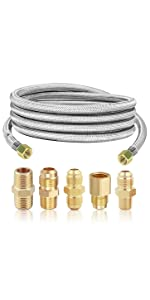 Propane Extension Hose with 3/8 in NPT, 3/8 in Flare and 1/4amp; NPT Conversion Coupling Fittings