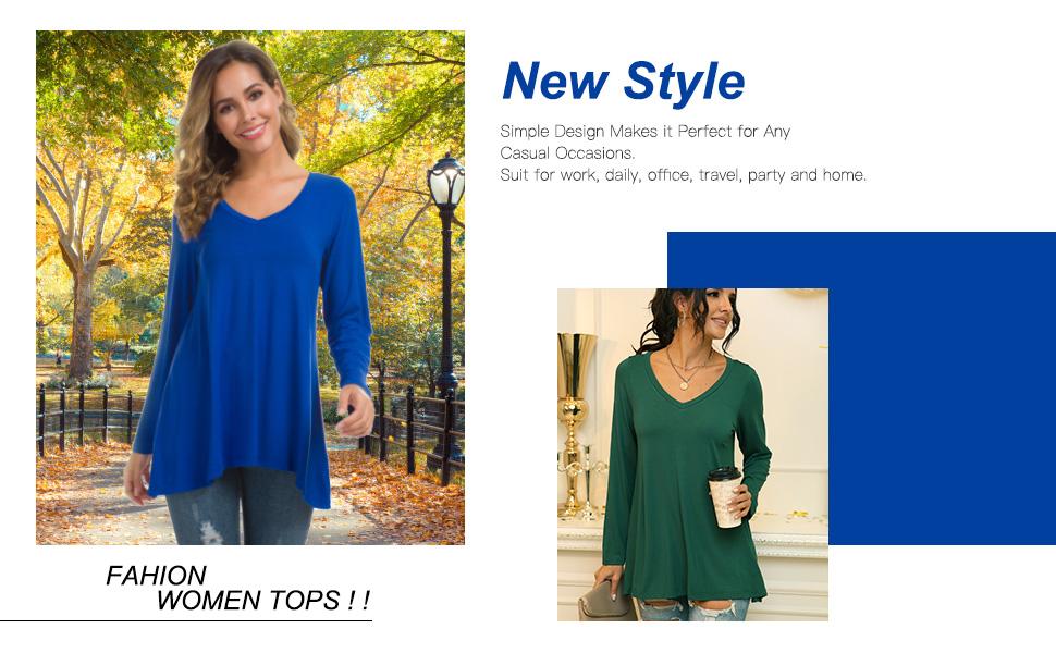 Women's long sleeve v-neck tunic tops