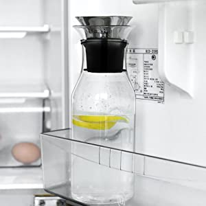 Glass Carafe with Stainless Steel Lid Heat Resistant Borosilicate Water Carafe Jug Beverage Pitcher