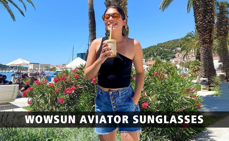 70s vintage retro yellow tinted lens aviator sunglasses for women