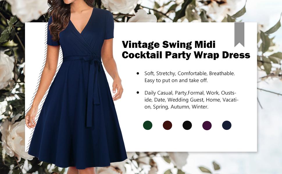 vintage swing midi wrap dress