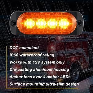 DOT compliant waterproof led top clearance side marker light for trailers trucks