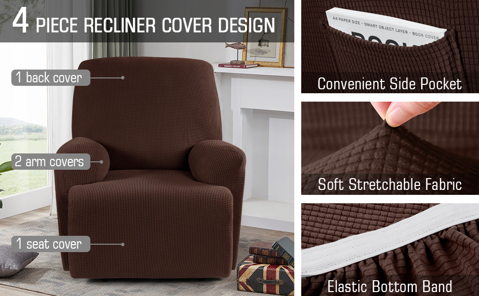 cover for recliner chair Chocolate