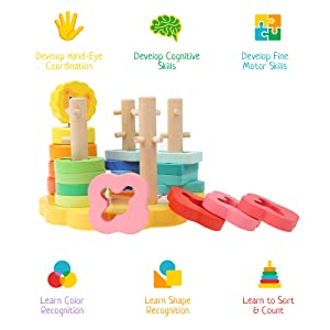 lion wooden stacking toy