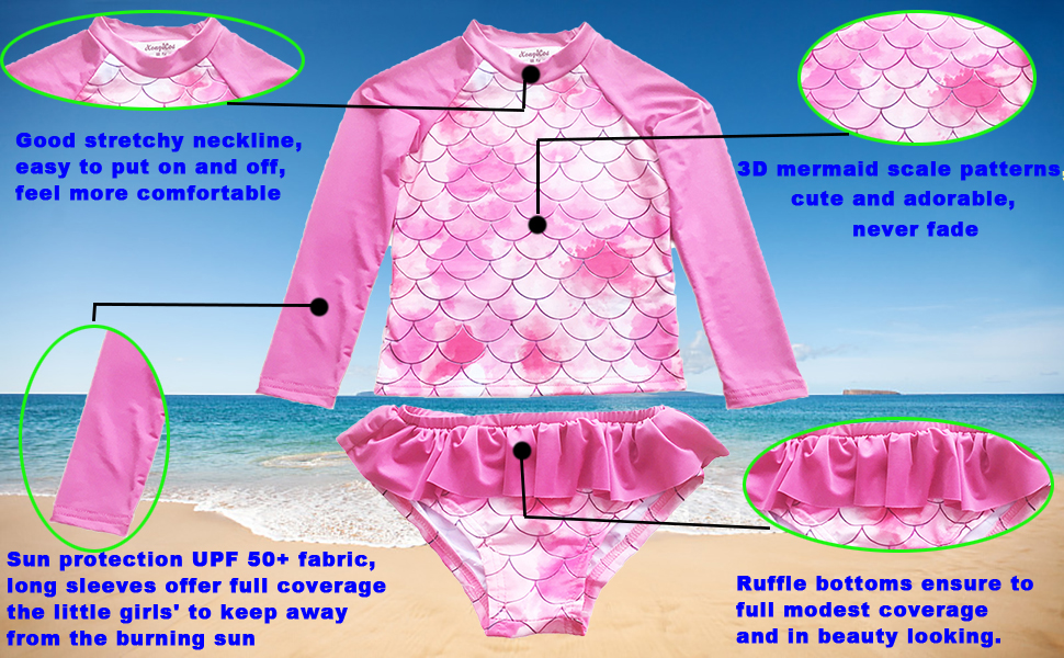 The Detail feature of the Rash Guard Swimsuit