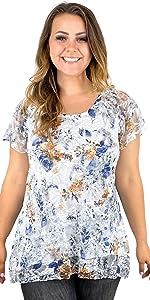 Floral Flutter Short Sleeve Lace Top