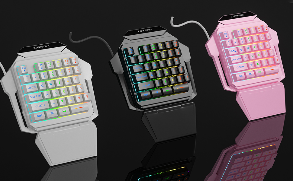 One-Handed Gaming Keyboard and Mouse Combination Mini Wired RGB Backlit Half Keyboar