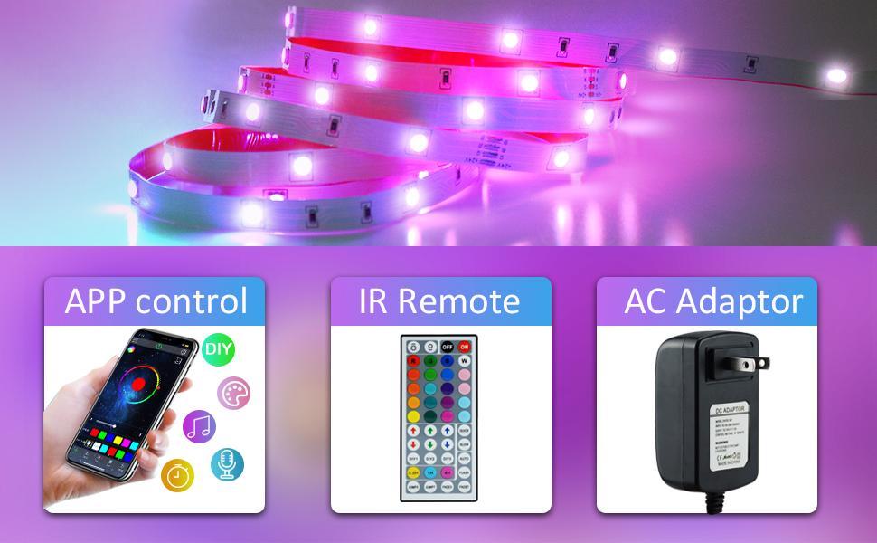 LED Strip 6m Bluetooth SMD5050 RGB Band Licht Farbwechsel Lichtleisten Kit f/ür Schlafzimmer K/üche Decke TV Bar Party mit Musikmodus CNSUNWAY Steuerbar via App und IR Fernbedienung