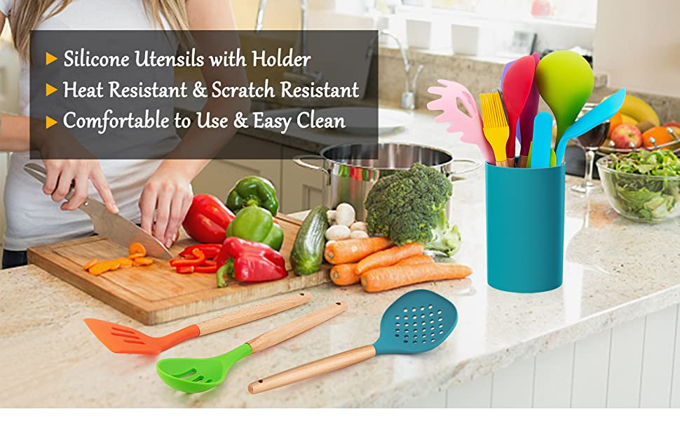 silicone cooking utensils with holder