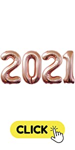 Rose Gold 2021 Number Balloons