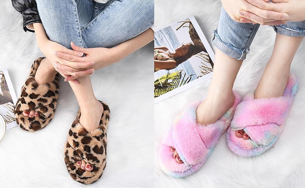 womens cross band slippers open toe
